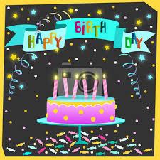 happy birthday grußkarte mit kuchen und kerzen sterne und bilder myloview