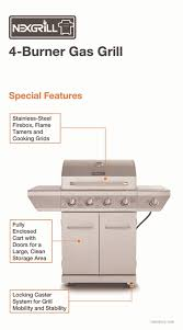 Patio Bistro Gas Grill Home Depot by Nexgrill 4 Burner Propane Gas Grill In Stainless Steel With Side