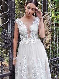 gauze round collar lace appliques a line wedding dress tbdress com