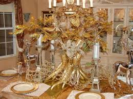 Dining Table Centerpiece Ideas For Christmas by Dining Room Extraordinary Golden Touch Also White Chandles For