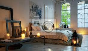 fototapete schlafzimmer im alten loft wohnung im stadtzentrum bett in