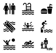 Swimming Pool Icons Children