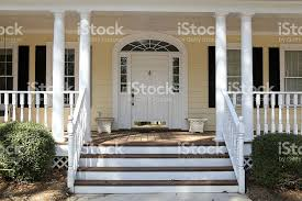 Columns On Front Porch by Front Porch Steps Of House With Columns Veranda Stock Photo