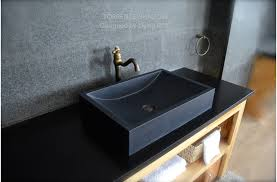 torrence shadow vasque en naturelle granit noir taillé