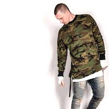 2016 Hip Hop Justin Bieber Clothes Street Wear Kpop Urban Clothing Men Long Sleeve Longline T Shirt Swag Camouflage In Shirts From Mens