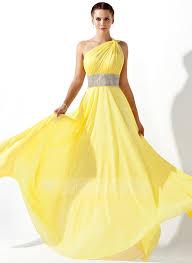 a line princess one shoulder floor length chiffon prom dress with