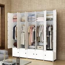 Elpitha Wardrobe Portable Clothes Closet Organizer Bedroom Armoire Dresser Cube Storage10 Cubes5 Hanging Section
