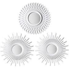 spiegel rund weiß 3 stück bonnyco spiegel klein wanddeko wohnzimmer haus und schlafzimmer spiegel wand zum aufhängen und dekorieren spiegel