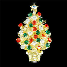Swarovski Crystal Red Green Christmas Tree Star Holiday Party Gold Tone Pin Brooch Accessories Jewelry Best