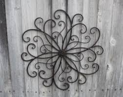Rustic Wrought Iron Wall Decor SWIRL Flower Center Design Art Photo Collage Metal