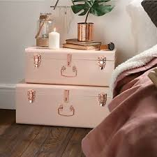 Beautify Set Of 2 Blush Pink Rose Gold Vintage Steel Box Chest Storage Trunks In Home Furniture DIY Solutions Boxes