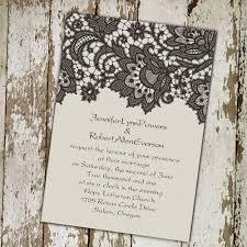 Vintage Wedding Invitations Rectangle Potrait Black Floral Pattern Beautiful Formal Wording Affordable Lace Invitation