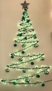 Wall Christmas Tree Made Of Green Lights Clear Command Strip Hooks A Topper And Shatter Proof Ornaments Great For Small Apartments