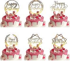 6 pcs happy birthday cake topper gold geburtstag kuchen topper tortenstecker für geburtstagsdeko acryl cupcake topper für kindergeburtstag baby