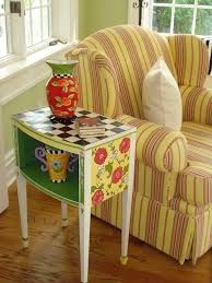 There Is Something About The Bright Colors And Stripes Of This Vignette That I LOVE Love Me Some Mary Engelbreit Type Painted Furniture