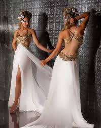 buy tailor made v neck beaded chiffon side slit gold and ivory