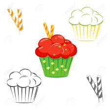 Cream topping cupcake set Muffin with red topping and waffle sticks outline line drawing