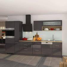 graue hochglanz küche mit geschirrspüler bozenia in 330cm breite 13 teilig