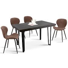 5PC Mid-Century Dining Table Set Crazy Horse Leather Cushion Dining Chairs  & Retro Rectangle Dining Table 6090-Bend-1DG+6090-COMPAS-BRONZE