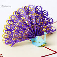 Hot Diy Peacock 3D Baby Carriage Origami Paper Cards Handmade Crafts Pop UP Party