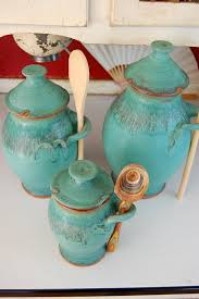 kitchen canister set of three in turquoise made to order