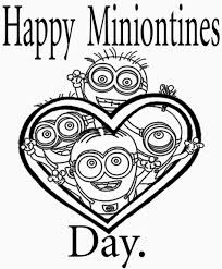 Happy Minnionties Day Free Coloring Page O Kids Love Valentines