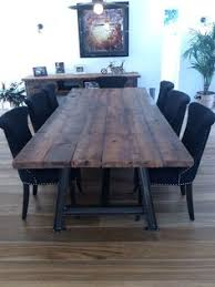 Industrial Style Steel A Framed Table With Reclaimed Timber Top Handmade On Site At