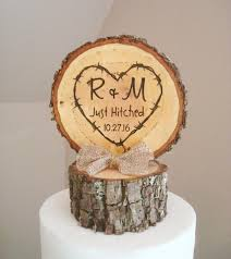 Rustic Wood Wedding Cake Topper Just Hitched Tree Slice Custom Country Decor 2593179