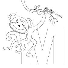 Letter V Coloring Pages Preschool Alphabet Printable Animal Worksheets Monkey For Kids Full Size
