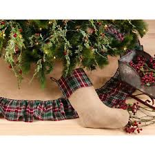 Image Is Loading Jute Burlap Christmas Tree Skirt With Red And