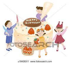 Clipart Children making a big birthday cake Illustration Fotosearch Search Clip Art