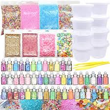70PCS Slime Add Ins Kit For Girls And Boys Floam Beads Fish Bowl Mreaind Unicorn