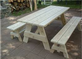 impressive remarkable wood picnic table with detached benches