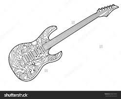 Inspirational Guitar Coloring Pages 73 For Picture Page With