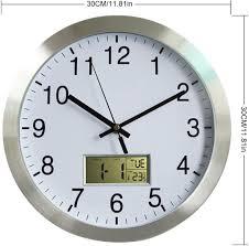lvpy wanduhr funk geräuschlos große wanduhr für wohnzimmer küche oder büro thermometer und hygrometer durchmesser 30cm