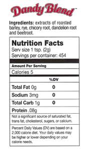 Dandy Blend Coffee Alternative Nutrition Facts