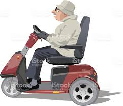 Old Man Riding A Mobility Scooter Royalty Free Stock