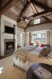 Rustic Wood Ceiling Gives This Bedrooms Vaulted A Cozy Feel