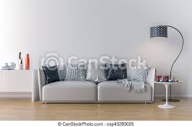 leeres wohnzimmer mit weißer wand im hintergrund 3d