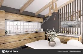 Modern White Kitchen Interior 3d Rendering Stockfoto Und Modern Wooden Kitchen Interior 3d Rendering 270832944