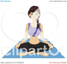 Clipart Of A Young Woman Sitting On Yoga Mat