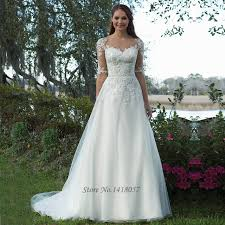 Rustic Wedding Dresses Lace Half Sleeve A Line Gowns Vestido De Noiva Vintage Bride Dress