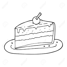 freehand drawn black and white cartoon slice of cake Stock Vector