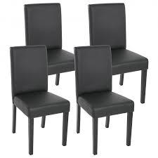4x esszimmerstuhl stuhl küchenstuhl littau kunstleder schwarz matt dunkle beine