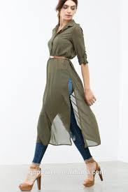 ladies tunic top wholesale long chiffon women tunic side slit