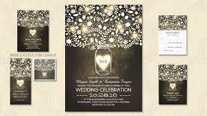 Country Rustic Floral Mason Jar Lights Wedding Invitation