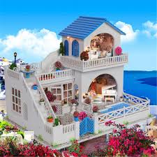 Diy Doll House Romantic Trip Miniature Wooden Furniture Model Led