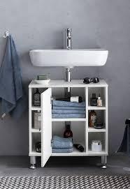 wohnling waschbeckenunterschrank 60 x 64 x 32 cm weiß badschrank mit tür holz unterschrank waschbecken badezimmer waschtischunterschrank mit
