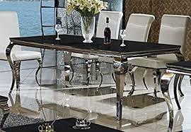 wohnen luxus esstisch lara schwarz 160 x 90 cm esszimmertisch edelstahl glas barock schreibtisch