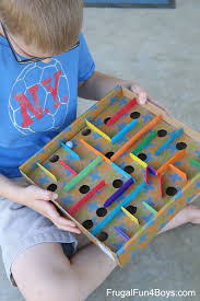 how to make a cardboard box marble labyrinth game kids building